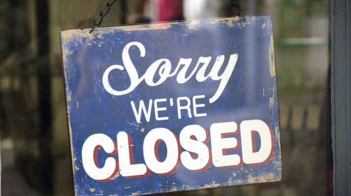 Vintage closed sign in shop window